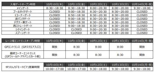 日本GP、ゲートオープン時間を公開