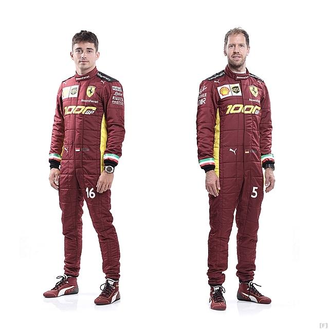 フェラーリ、レーシングスーツも1000戦目の特別カラーリング